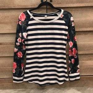 Tops - Floral and Stripes Baseball Shirt